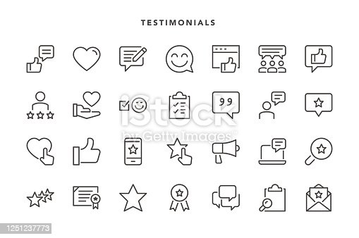 Testimonials Icons - Vector EPS 10 File, Pixel Perfect 28 Icons.