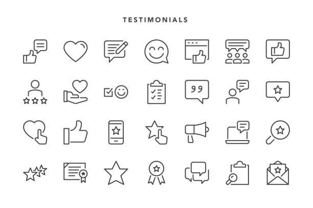 ilustrações, clipart, desenhos animados e ícones de ícones de depoimentos - feedback