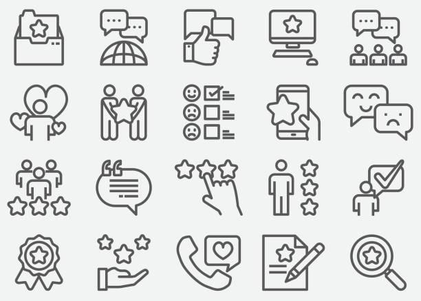 illustrations, cliparts, dessins animés et icônes de icônes de ligne témoignages - relation client