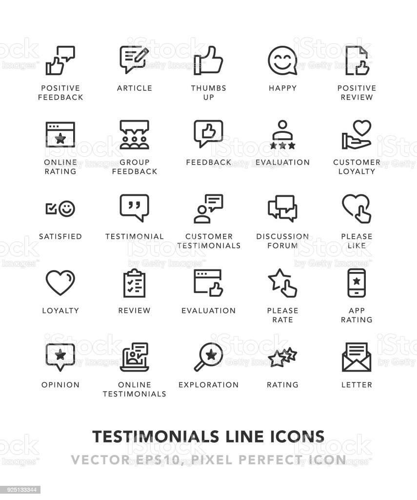 Testimonials Line Icons vector art illustration