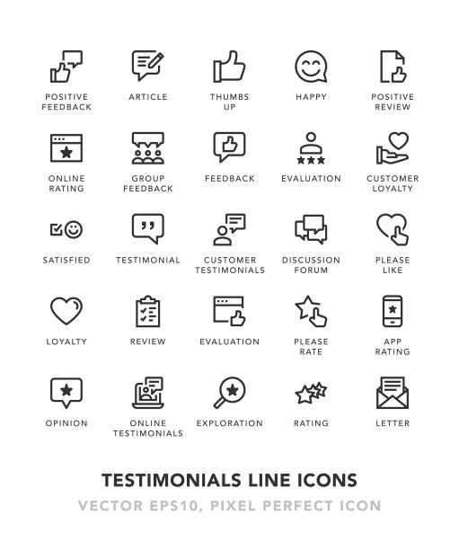 referenzen-linie-icons - feedback stock-grafiken, -clipart, -cartoons und -symbole