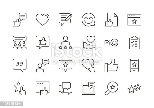 Testimonials - Regular Line Icons - Vector EPS 10 File, Pixel Perfect 24 Icons.