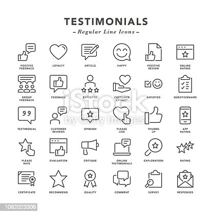 Testimonials - Regular Line Icons - Vector EPS 10 File, Pixel Perfect 30 Icons.