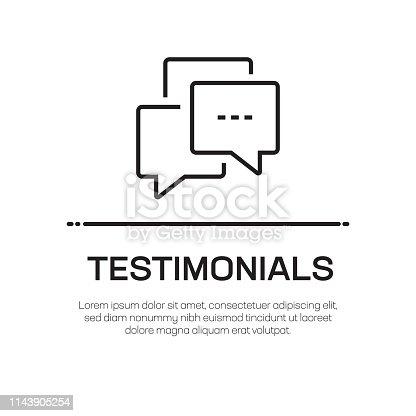 Testimonials Vector Line Icon - Simple Thin Line Icon, Premium Quality Design Element