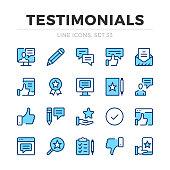 Testimonials vector line icons set. Thin line design. Outline graphic elements, simple stroke symbols. Testimonials icons
