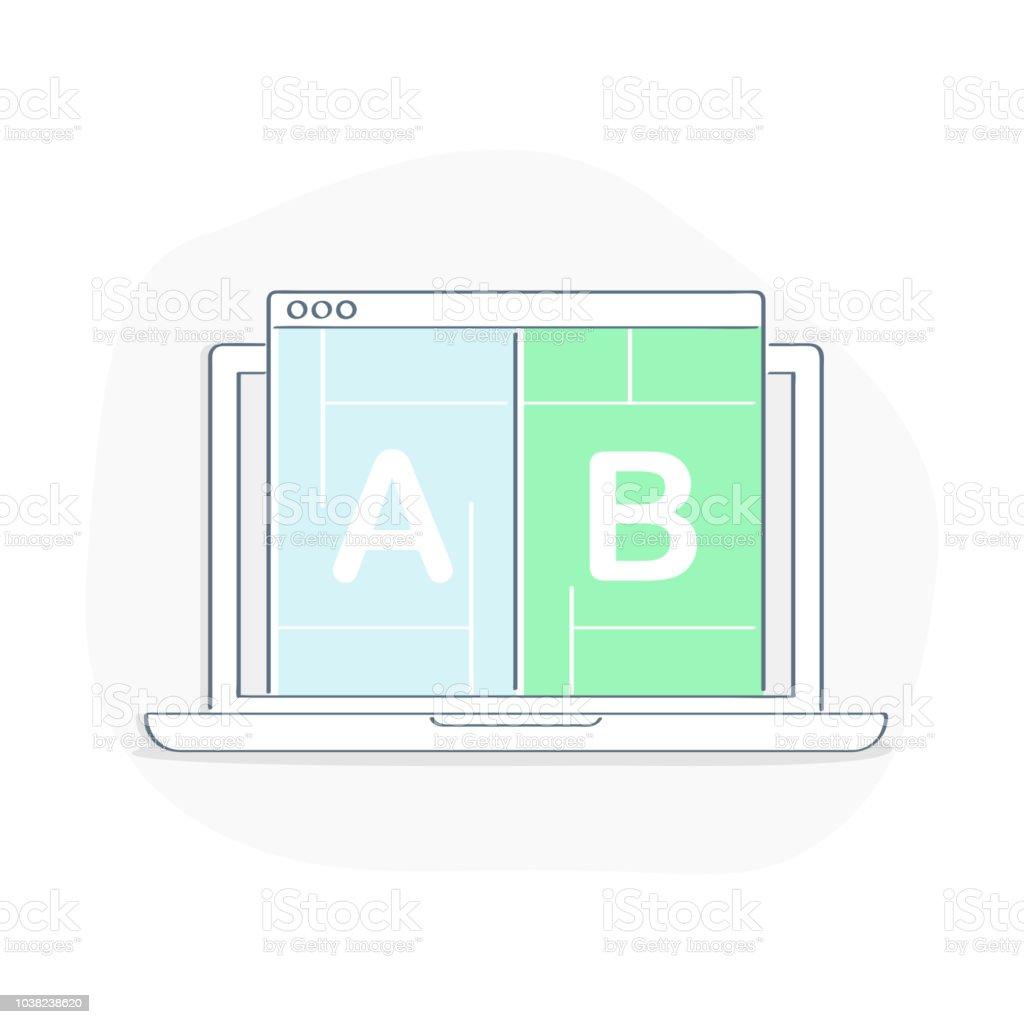 A B pruebas, corrección de error, prueba de usabilidad, Split testing - ilustración de vectores - ilustración de arte vectorial