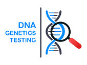 DNA testing, genetic diagnosis concept. Genetic engineering concept. Can use for web banner. Deoxyribonucleic acid. Vector stock illustration.