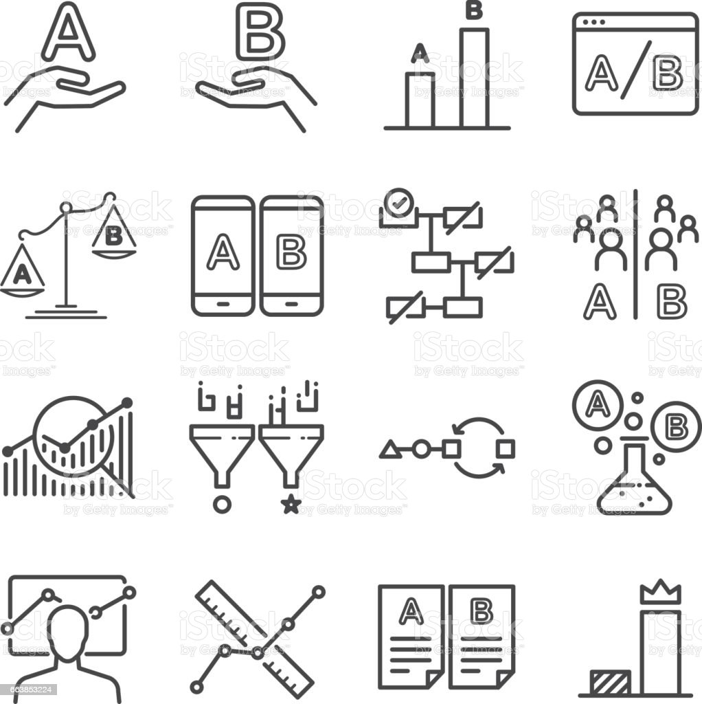 A/B testing icons set vector art illustration