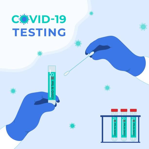 illustrazioni stock, clip art, cartoni animati e icone di tendenza di covid-19 testing. tubes with saliva sample. coronavirus test. - hand on glass covid