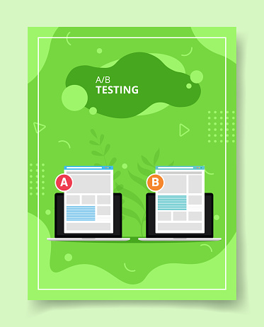 AB testing ui wire frameon laptop compared for template of banners, flyer, books cover, magazines with liquid shape style