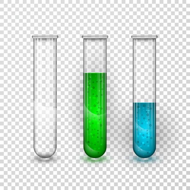 bildbanksillustrationer, clip art samt tecknat material och ikoner med provrör, kemiska laboratoriet öppet kolv med vätska. vektorillustration - test tube