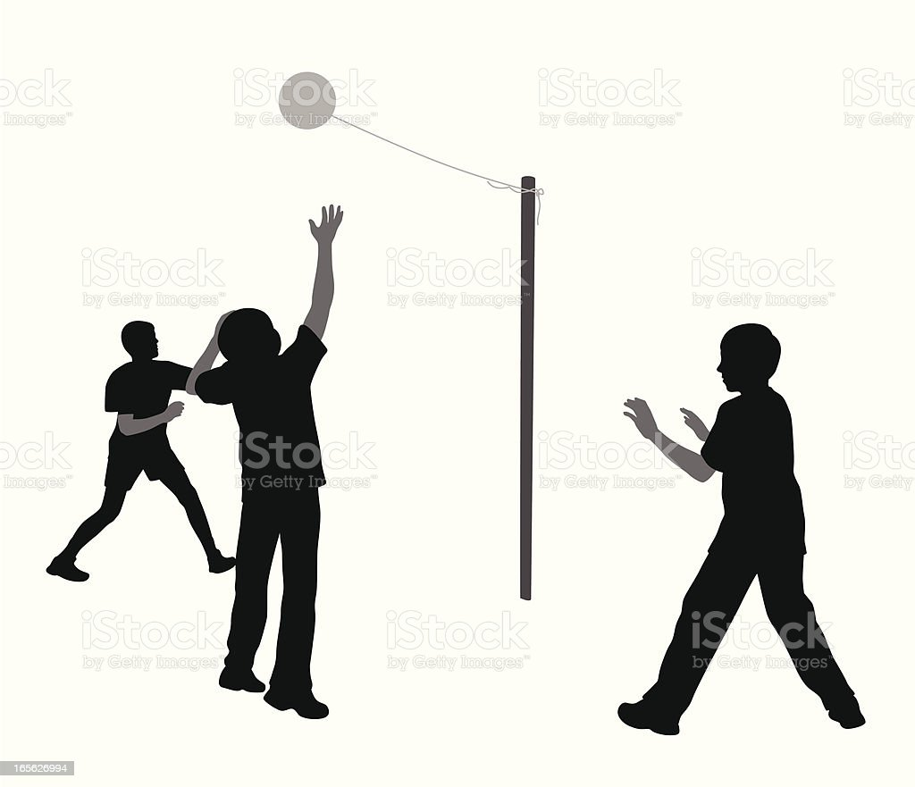 Tetherball Boys Vector Silhouette royalty-free stock vector art