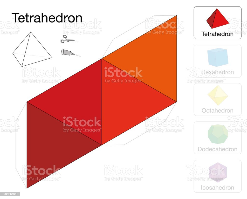 Tetrahedron Platonic Solid Template Paper Model Of A Tetrahedron One ...