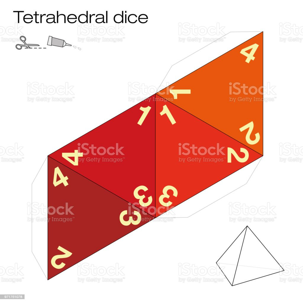Tetrahedron Template Four Sided Tetrahedral Dice One Of The Five