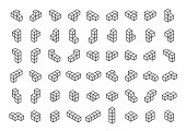 Tetromino blocks in isometry vector icon set in thin line style