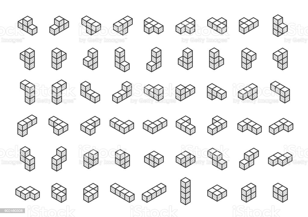 Tetromino blocks in isometry vector icon set in thin line style vector art illustration