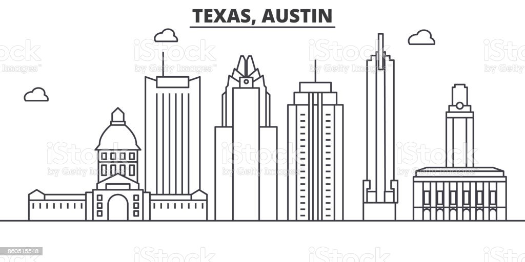 Texas Austin architecture line skyline illustration. Linear vector cityscape with famous landmarks, city sights, design icons. Landscape wtih editable strokes vector art illustration