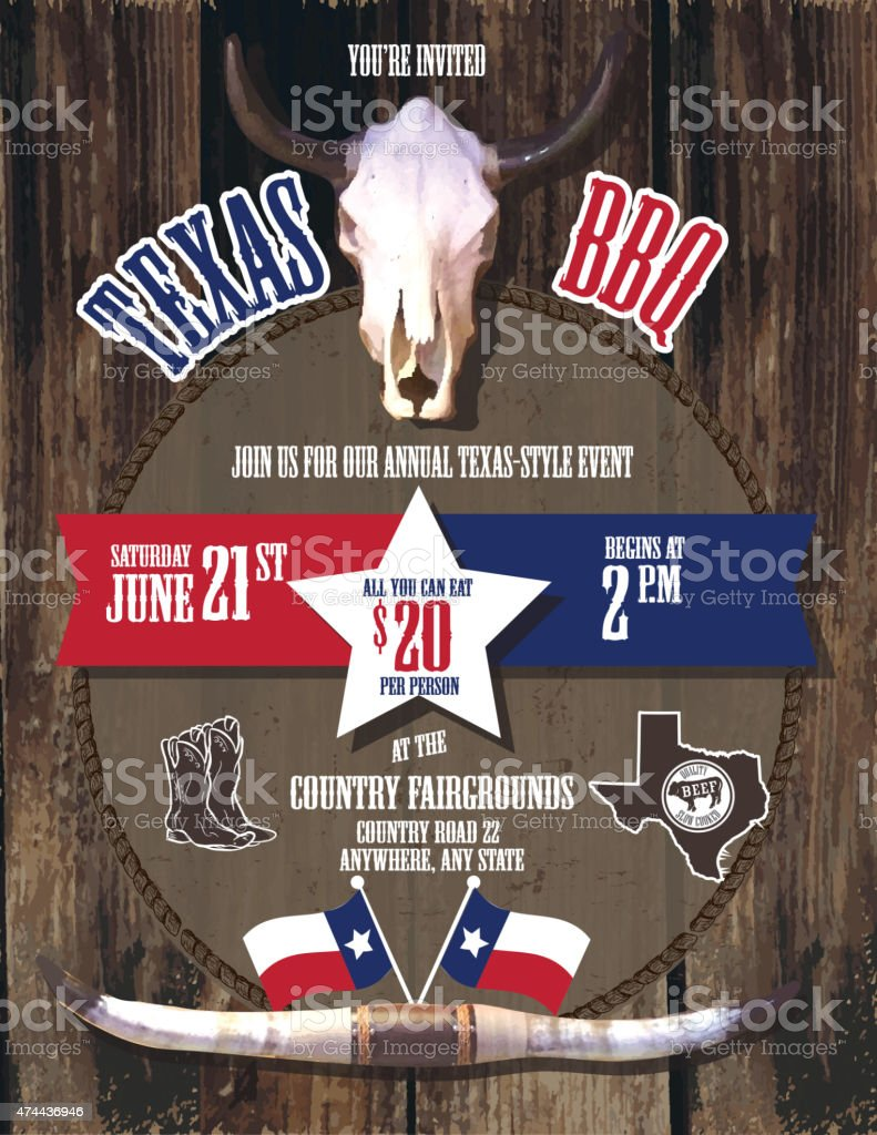 Texas Barbecue themed design template state of Texas vector art illustration