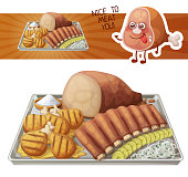 Texas BBQ medley icon. Vector illustration of barbecue meat on tin tray with white onions and gerkins. Cute cartoon meat charatcer
