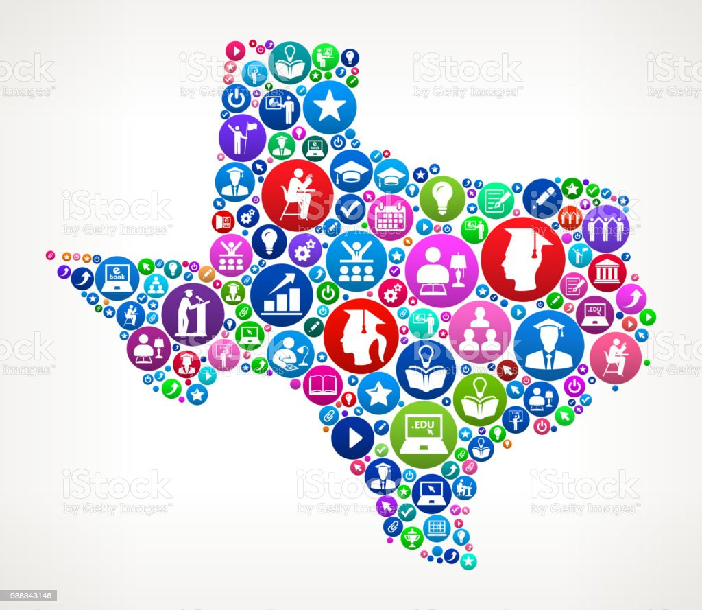 Texas College and Higher Learning Vector Icon Pattern vector art illustration