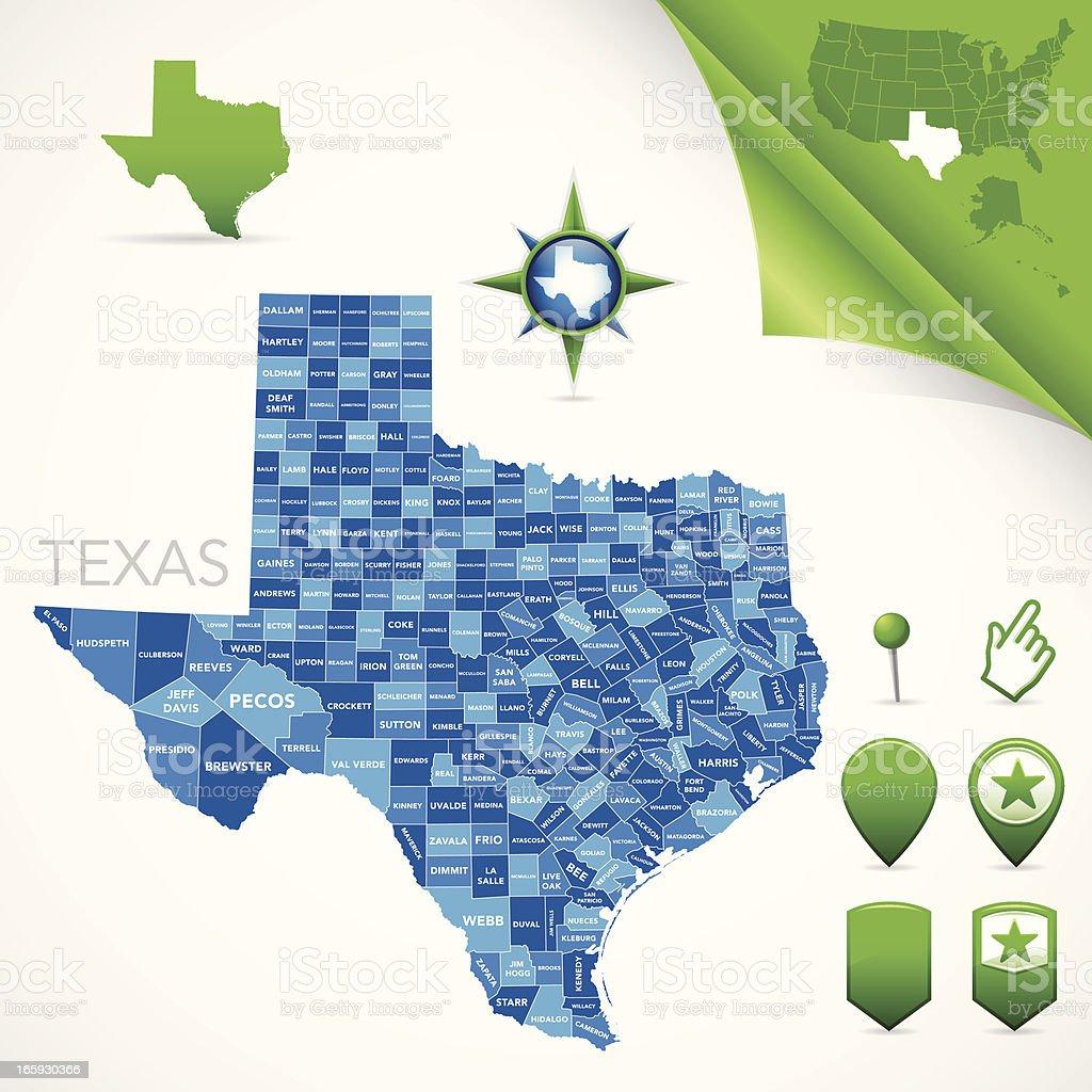 Texas County Map vector art illustration