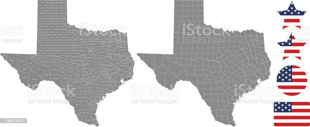Contorno en fondo gris en Texas Condado mapa vectorial. Mapa de estado de Estados Unidos de Texas con nombres de condados etiquetados y diseños de ilustración de vector de Estados Unidos bandera icono - ilustración de arte vectorial