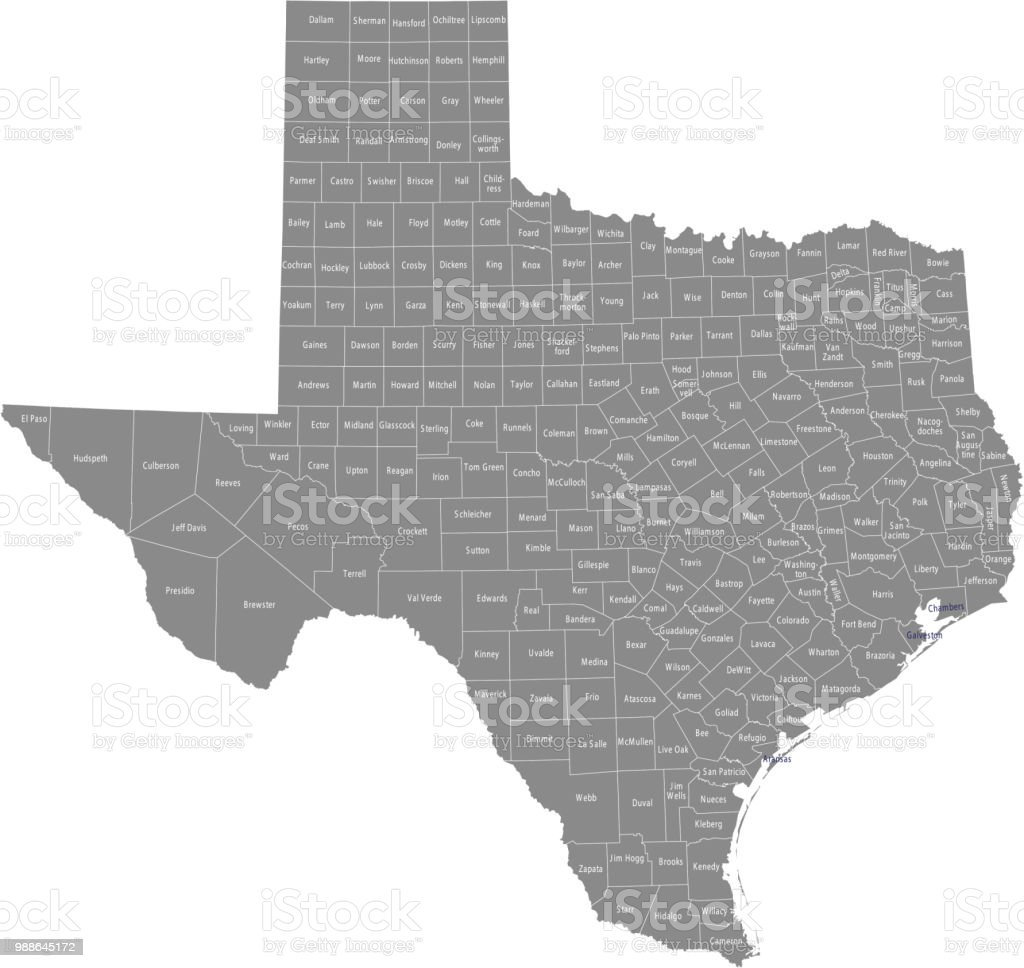 Texas Map Of Counties With Names.Texas County Map Vector Outline With Counties Names Labeled In Gray