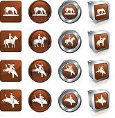 Texas Cowboy and Bull riding vector button set