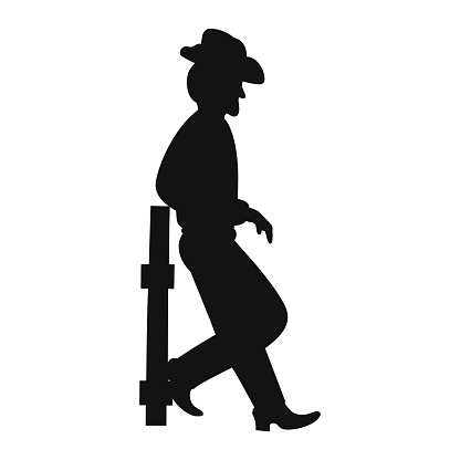 Texas Cowboy silhouette on wild west on ranch. Farmer or Rodeo rider. Vector illustration.