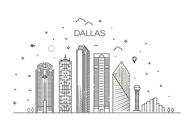 Texas-Dallas Architektur Linie Skyline Abbildung. Linearer Vektor Stadtbild mit berühmten Sehenswürdigkeiten – Vektorgrafik