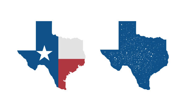 Texas flag map icon and Texas map with vintage stamp effect isolated on white background. Print for T-shirt, typography. Vector template Vector illustration texas stock illustrations