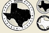 Texas Grunge Map Black & White Stamp Collection