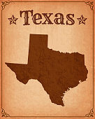 Texas Grunge Map with Frame