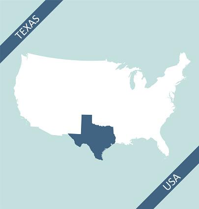 Texas highlighted on USA map