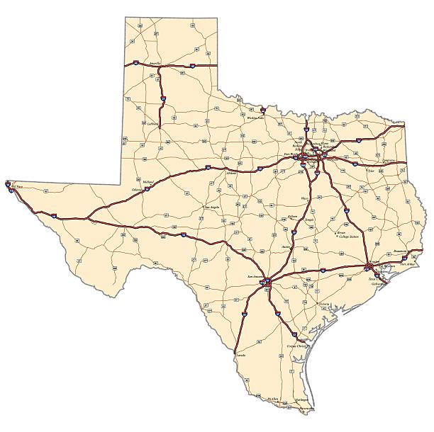 Texas Highway Map vector art illustration