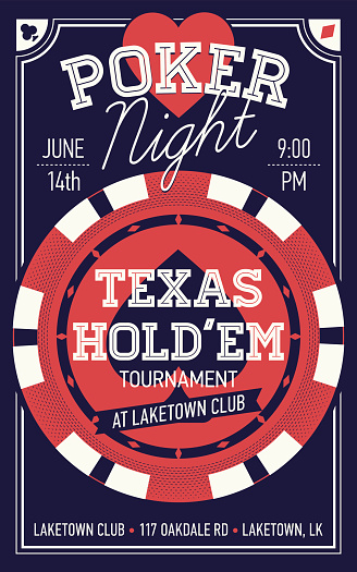 Texas Hold'em poker night flyer or banner template