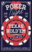 Texas Hold'em poker night flyer or banner template