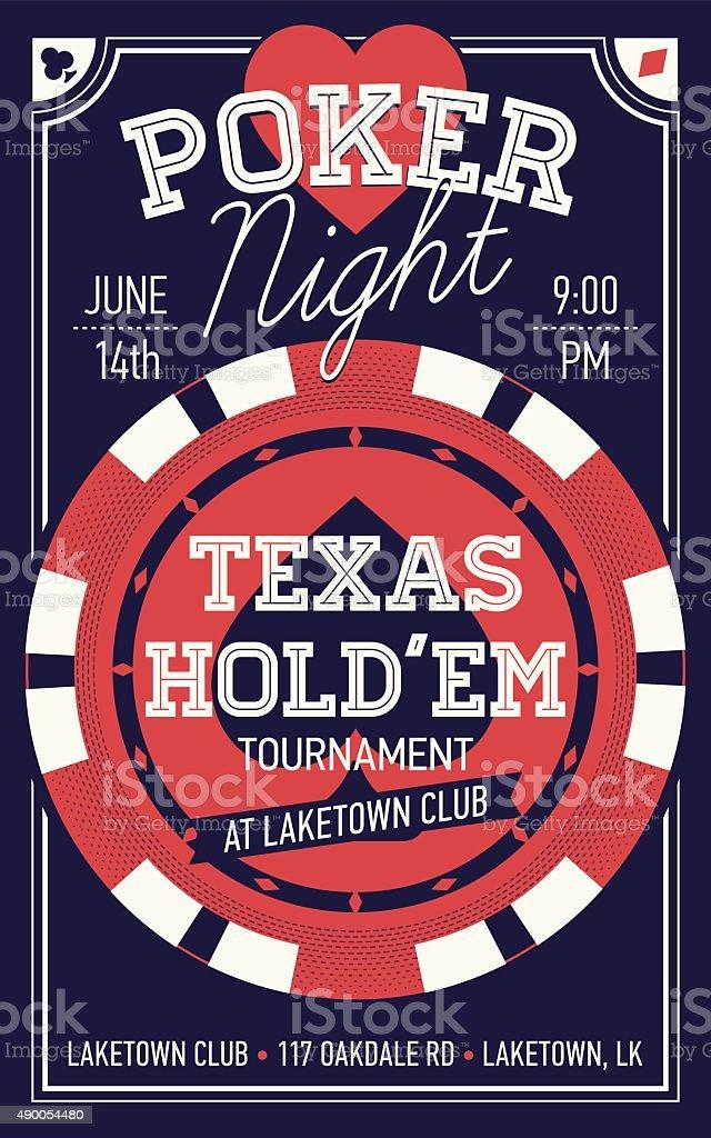 Texas Hold'em poker night flyer or banner template vector art illustration