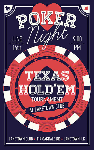 Texas Hold'em poker night flyer or banner template Cool Texas Hold'em poker night invite or banner template with rich lettering and casino poker chip. Ideal for printable gaming event promotion in clubs, bars, pubs and public places poker stock illustrations