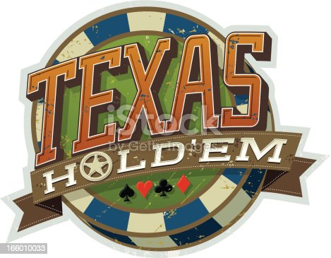 A vector illustration of a Texas Hold'em poker tournament icon. The distressed grunge is on a separate layer in Illustrator 10 EPS file. The transparency effect multiply is used in the shadows.