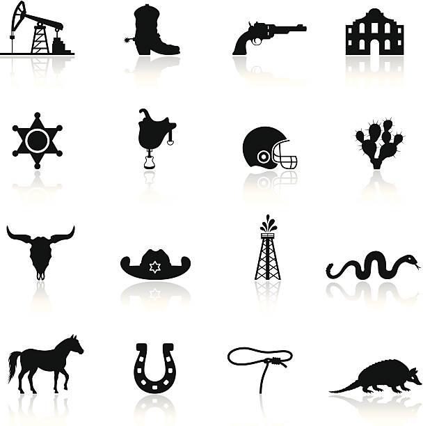 texas icon-set - cowboystiefel stock-grafiken, -clipart, -cartoons und -symbole