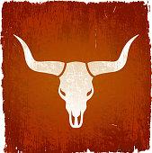 Texas Longhorn bull on grunge background