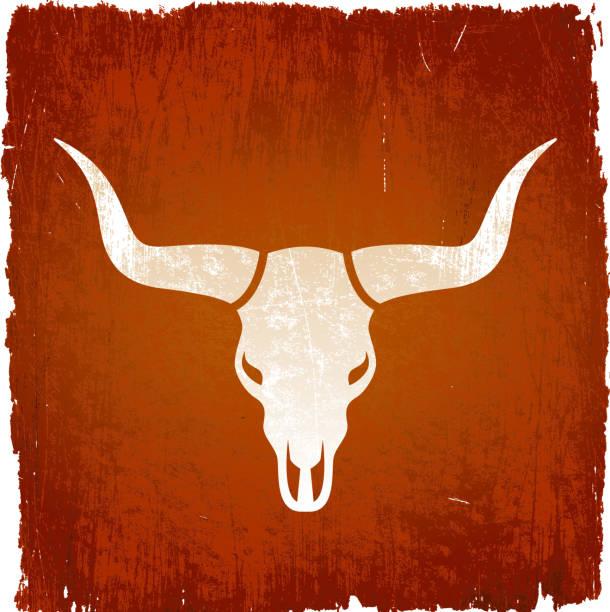 Texas Longhorn bull on royalty free vector Background Texas Longhorn bull on grunge background horned stock illustrations