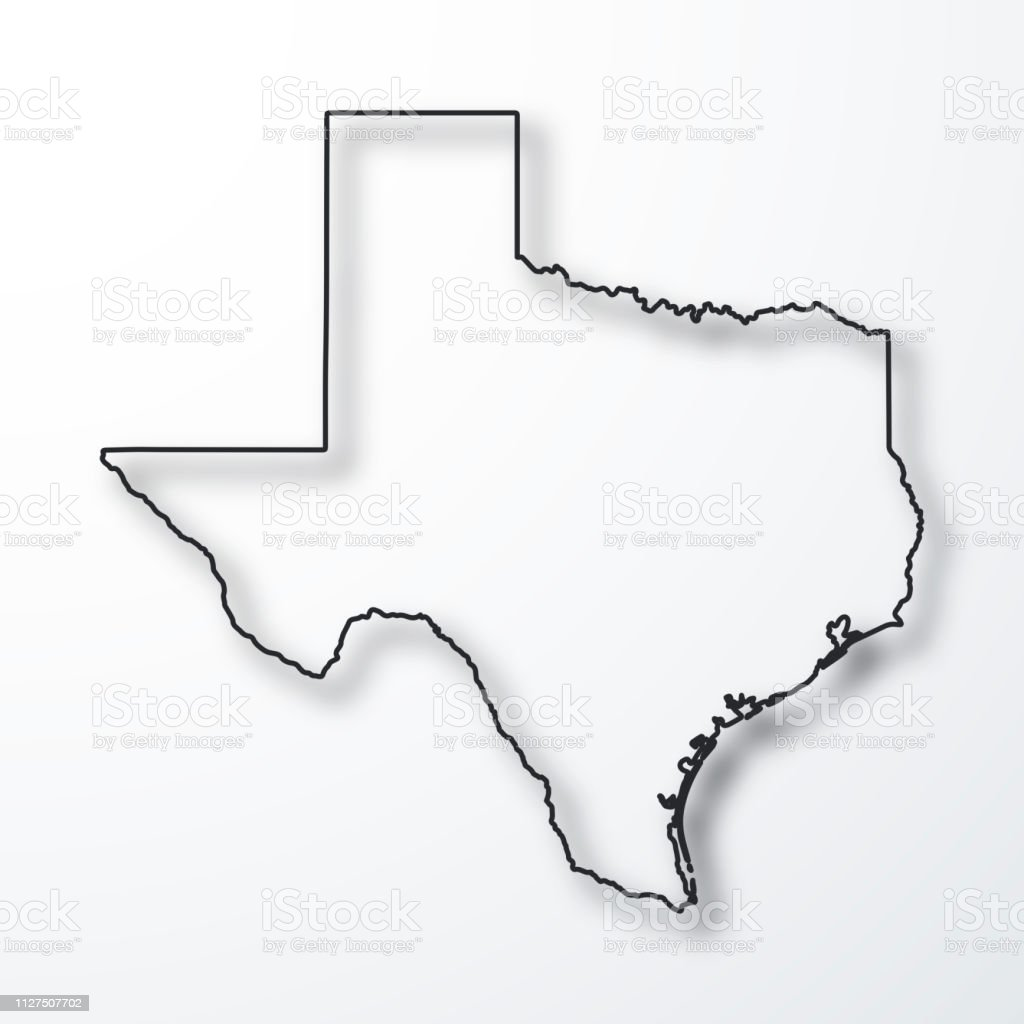 Outline Of Texas Map.Texas Map Black Outline With Shadow On White Background Stock Vector