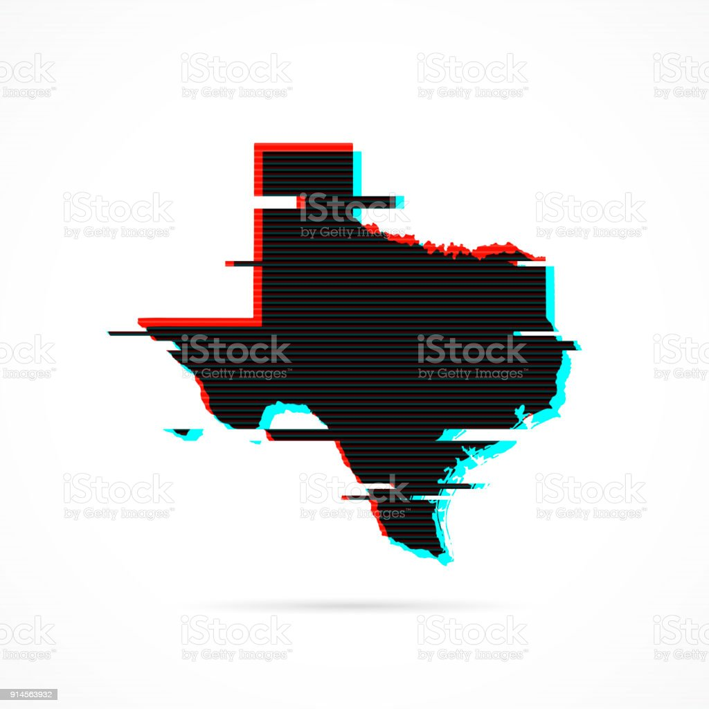 Texas map in distorted glitch style. Modern trendy effect vector art illustration