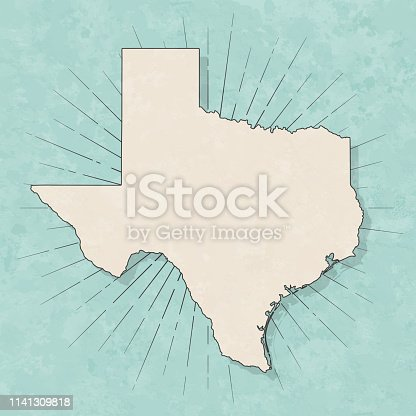 Map of Texas in a trendy vintage style. Beautiful retro illustration with old textured paper and light rays in the background (colors used: blue, green, beige and black for the outline). Vector Illustration (EPS10, well layered and grouped). Easy to edit, manipulate, resize or colorize.