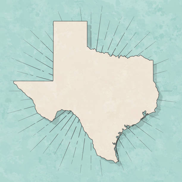 Texas map in retro vintage style - Old textured paper vector art illustration