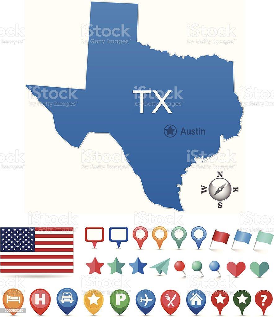 Texas Map Kit vector art illustration