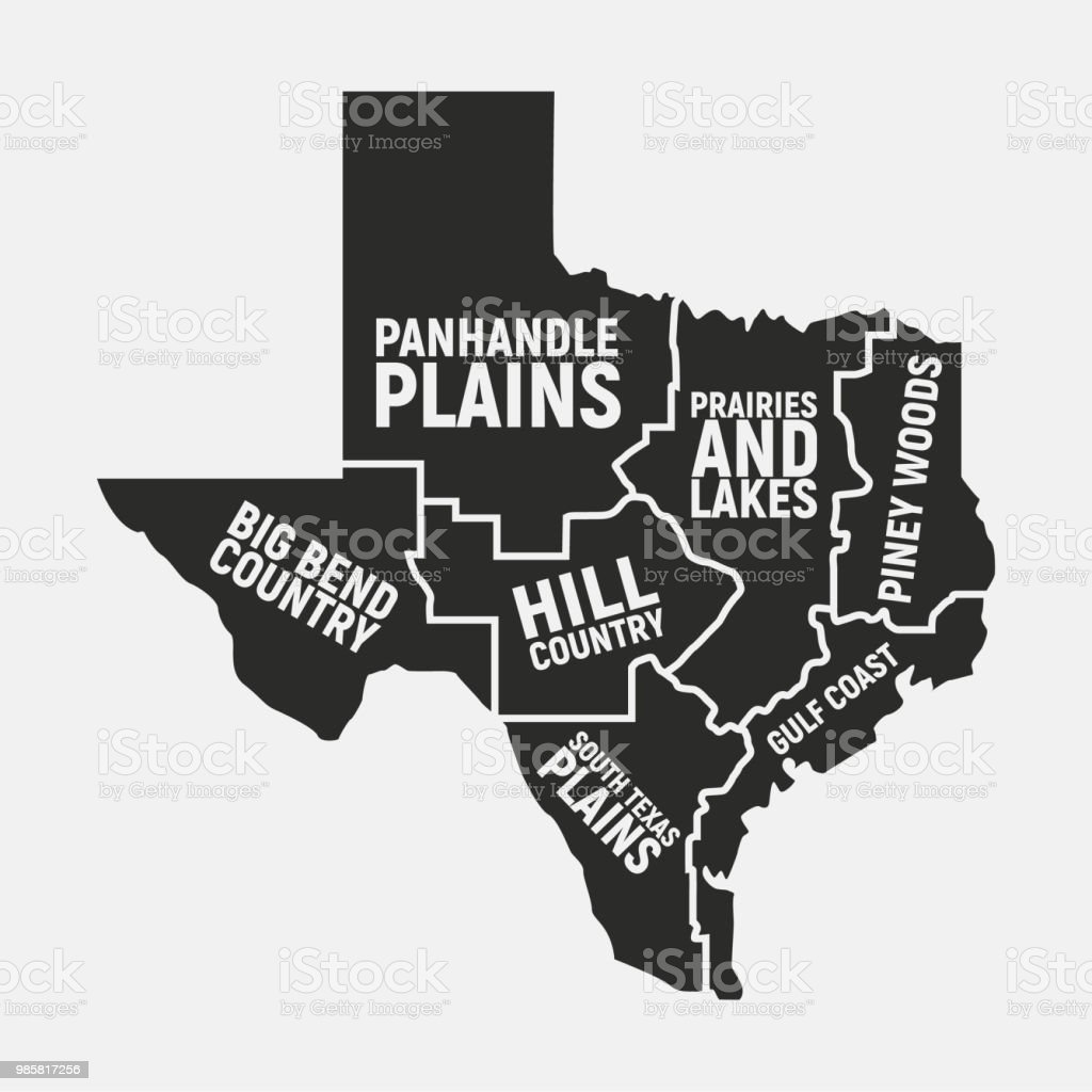 Texas Map Of Regions Texas Us State Icon Poster Map Vector ...