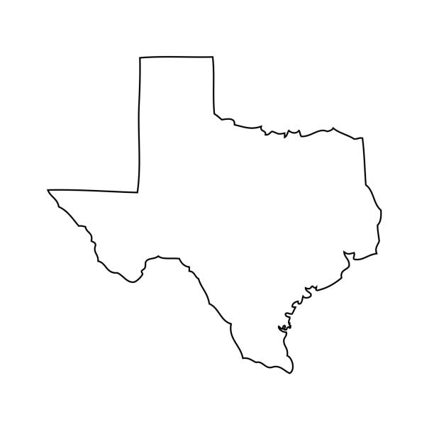Texas - map of US state Vector. Map of US state outline stock illustrations